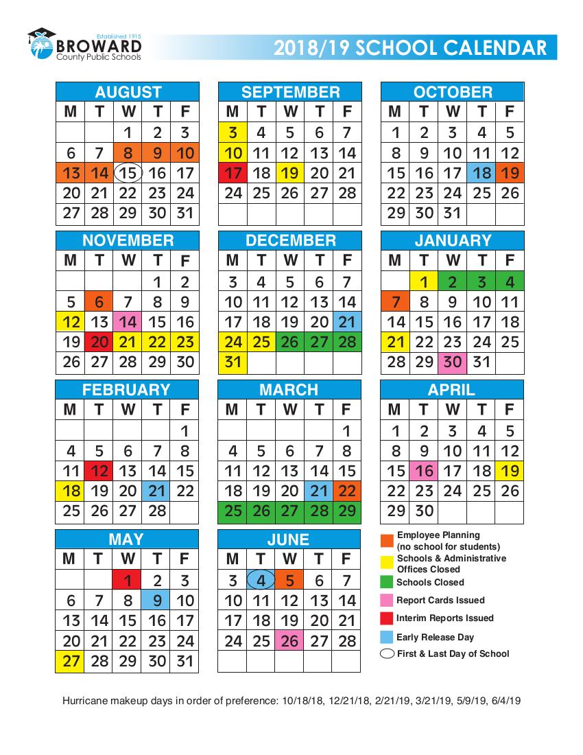 2018 Broward School Calendar